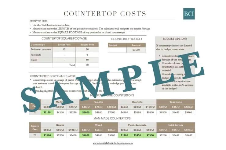 Sample image of Countertop Costs Calculator spreadsheet.
