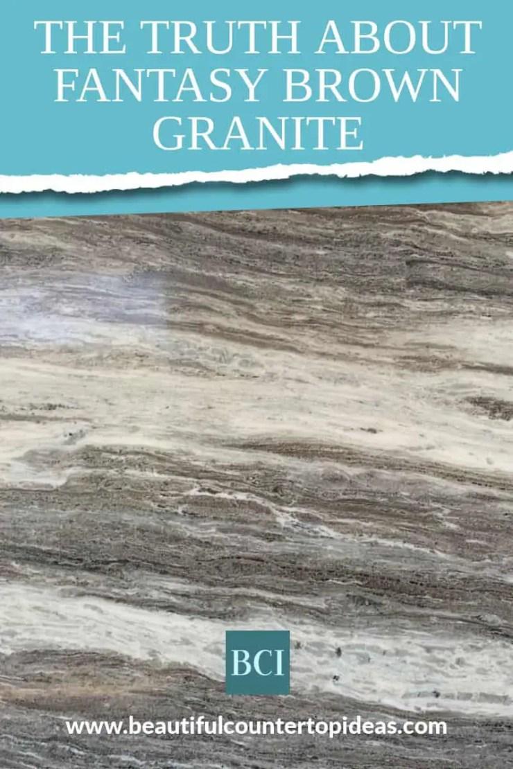 Photo collage of Fantasy Brown Granite countertop slab.