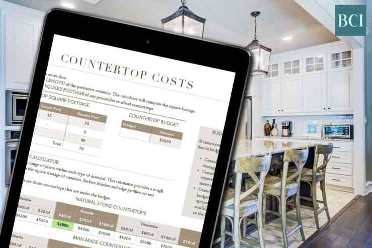 Photo collage of countertop costs calculator on iPad