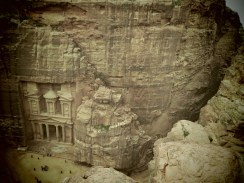 Petra Treasury and Tourists from above - by Anika Mikkelson - Miss Maps - www.MissMaps.com