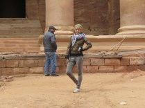 Up close to the Treasury in Petra - with a silly looking fella nearby - Anika Mikkelson - Miss Maps - www.MissMaps.com