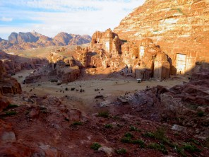 View of the main grounds, the Royal Tombs and Wadi Musa on the way to Petra's high point - by Anika Mikkelson - Miss Maps - www.MissMaps.com