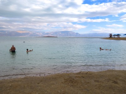 Floating in the Dead Sea at Israel's Ein Gedi Beach - by Anika Mikkelson - Miss Maps - www.MissMaps.com