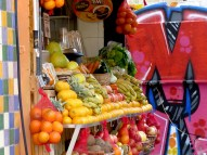 Fruit Stands and Graffitti - Tel Aviv Israel - by Anika Mikkelson - Miss Maps - www.MissMaps.com