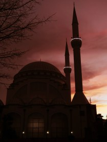 Shkoder Albania - Mosque at Sunset - March 2015