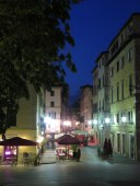Cafes at Night - Lucca Italy - by Anika Mikkelson - Miss Maps - www.MissMaps.com