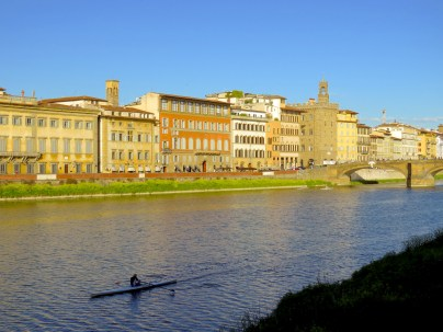 Florence Kayaker at Dusk - Florence Italy - by Anika Mikkelson - Miss Maps - www.MissMaps.com
