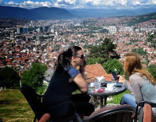 Enjoying the View From Zmajevac Cafe - Sarajevo BiH - by Anika Mikkelson - Miss Maps www.MissMaps.com