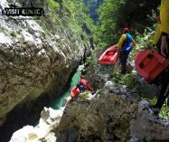 Scrambling Down the Rocks of River Neretva - Bosnia and Herzegovina BiH - photo by VisitKonjic.com