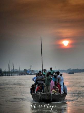 Sunset on a River Boat - Mongla Bangladesh - by Anika Mikkelson - Miss Maps - www.MissMaps.com
