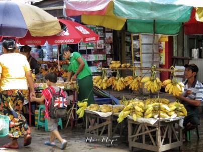Bananas Galore - Yangon Street Market - Yangon Rangoon Myanmar - by Anika Mikkelson - Miss Maps - www.MissMaps - www.MissMaps.com