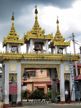 Entrance of the Mahasi Sasana Yeiktha Meditation Center - Yangon Myanmar - by Anika Mikkelson - Miss Maps - www.MissMaps.com
