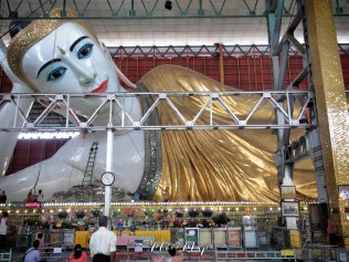 Reclining Buddha at The Chauk Htat Gyi Pagoda - Yangon Myanmar - by Anika Mikkelson - Miss Maps - www.MissMaps.com