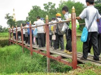 Year 4 Students' Field Trip - Crossing the Wooden Bridge - Bago Pagu Myanmar - by Anika Mikkelson - Miss Maps - www.MissMaps.com