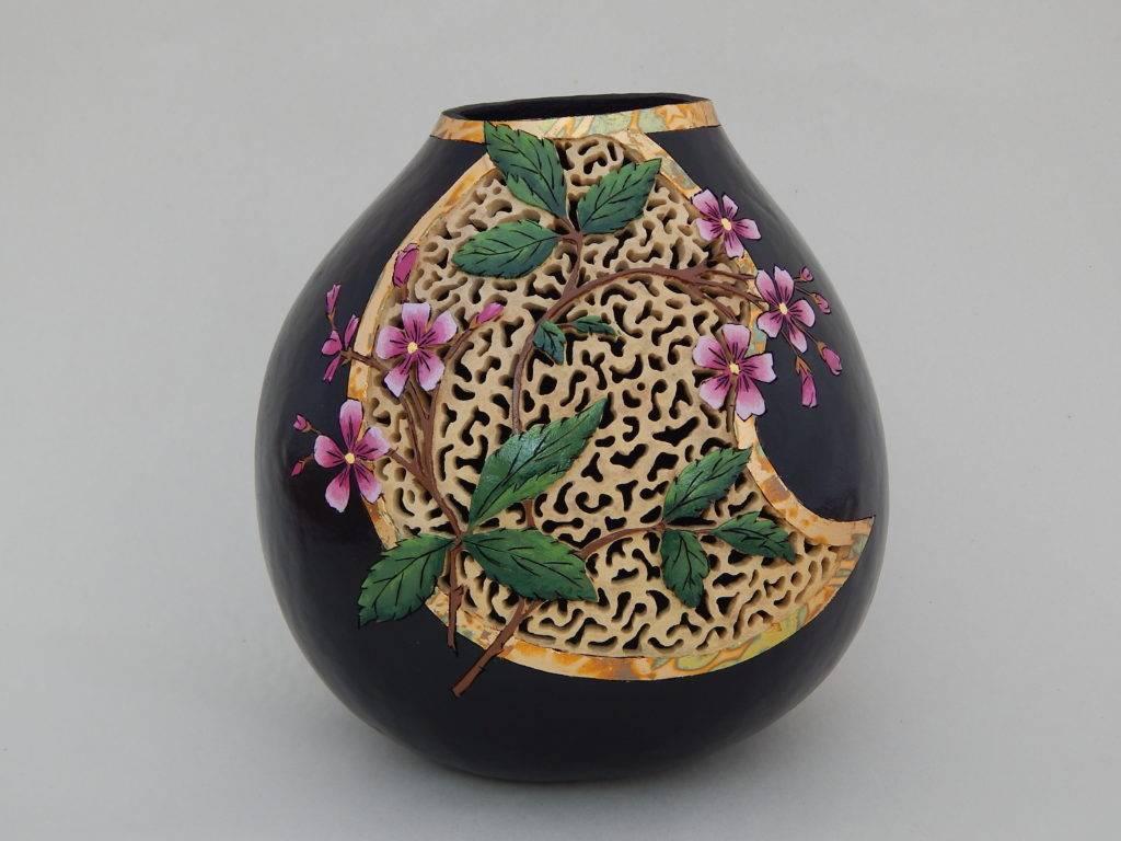 carved gourd art, gourd carving, gardener gift, nature gift, contemporary decor
