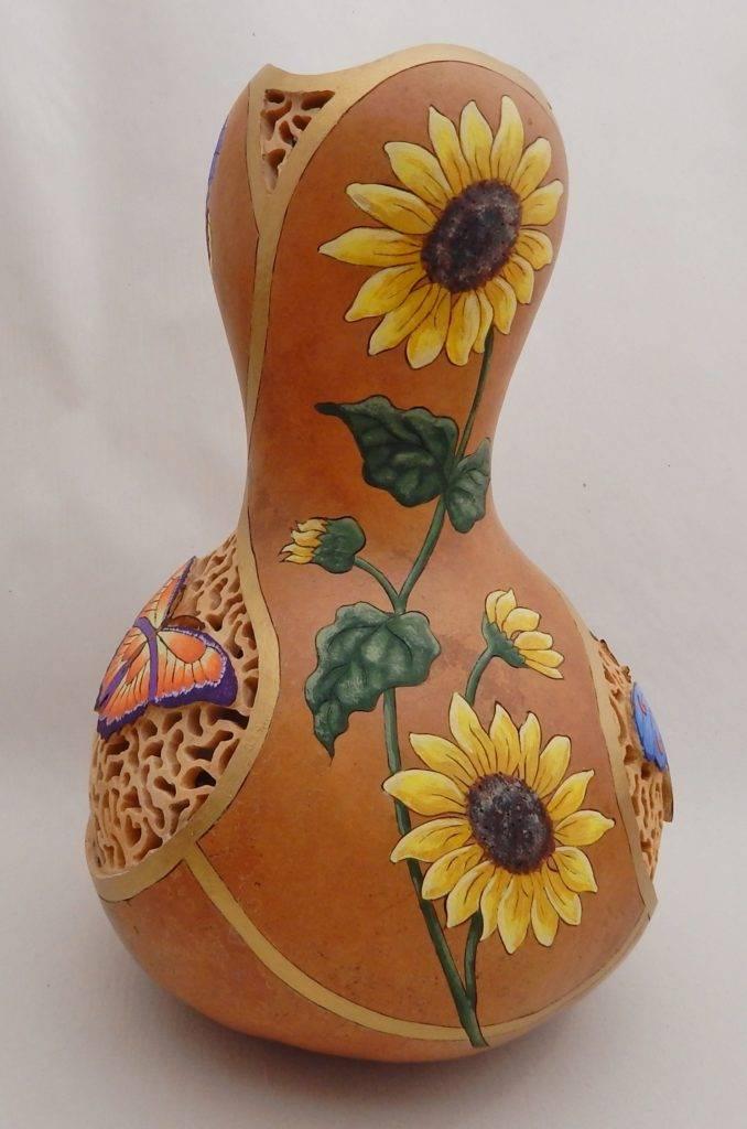 gourd art, gardener gift, carved gourd, gourd carving, hand carved, garden cottage decor