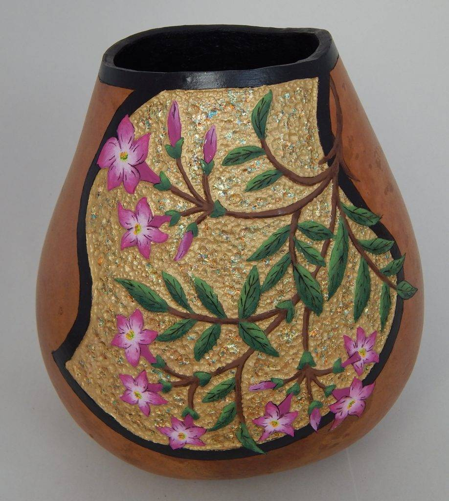 unique office decor, carved gourds, gourd art, gardener gift, cottage decor, nature gifts, gourd carving, flower garden on gourd