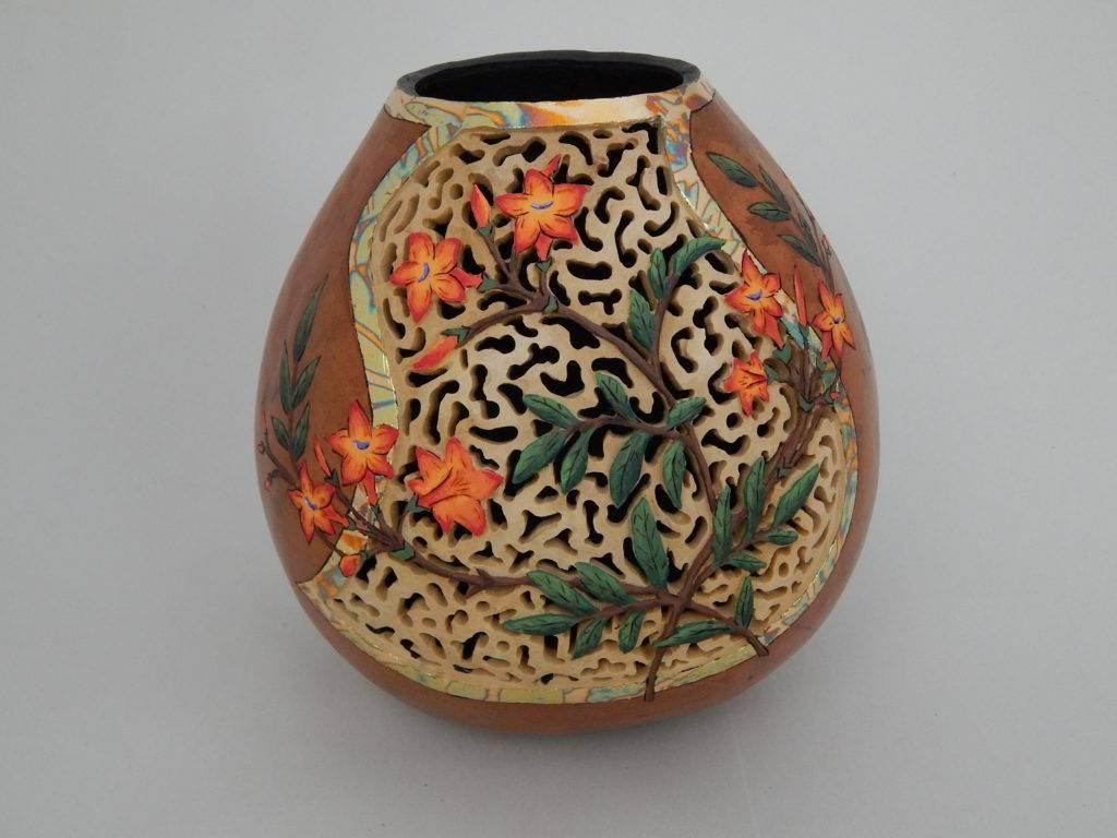 hand carved, carved gourd art, gardener gift, fine art gourds, carved flower, cottage decor, nature gifts