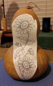 Tall sunflower design on tall gourd