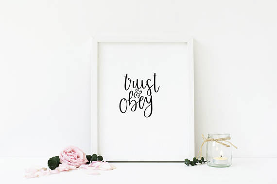 Trust and Obey | Minimalist Christian Art | Hymn Print | Song Lyrics | Black and White | Minimalistic | Calligraphy | Hand Lettering