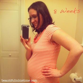 8 week baby bump