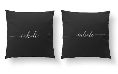 SET of 2 Pillows, Inhale Exhale Pillow, Bedroom Pillows, multiple colors available