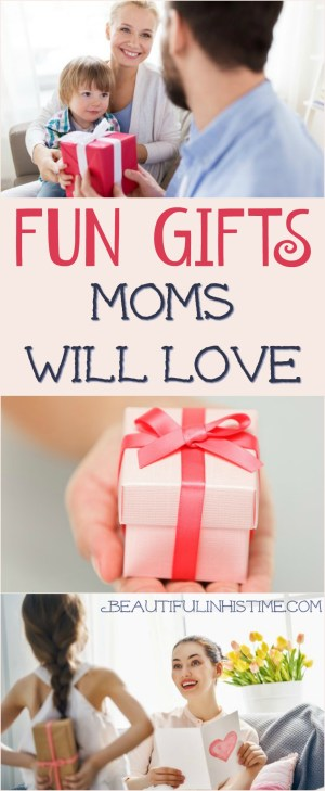 Fun gifts moms will love! Wonderful gifts for new moms, for Christmas, Mother's Day, or mom's birthday! Gifts for young mamas!