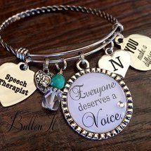"""Everyone Deserves a Voice"" charm bracelet for a speech therapist"