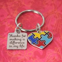 Thanks for making a difference in my life puzzle piece keychain
