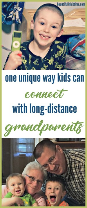 One unique way for kids to stay connected to long-distance grandparents   Today's technology allows my children to stay connected to their grandparents far better than kids did a generation or two ago.   Grandma records stories and sends the digital files, which my kids listen to at bedtime and naptime.