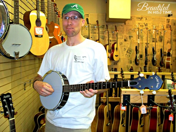 Russ checking out banjos in 2009