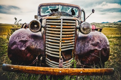 A vintage truck on the Montana prairie, aged, rusted and broken, but never forgotton