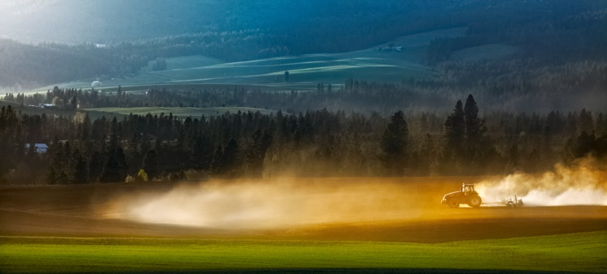 A farmer plowing his field in a cloud of white dust.