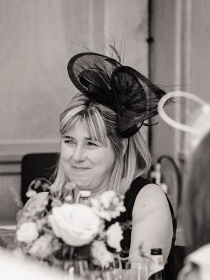 Black & white image of tearful mum