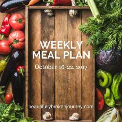 Weekly Meal Plan 10/16-10/22/17