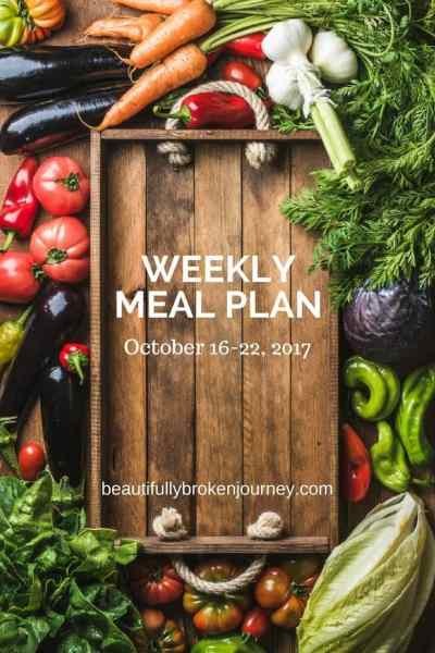 Weekly Meal Plan 10/16-10/22/17
