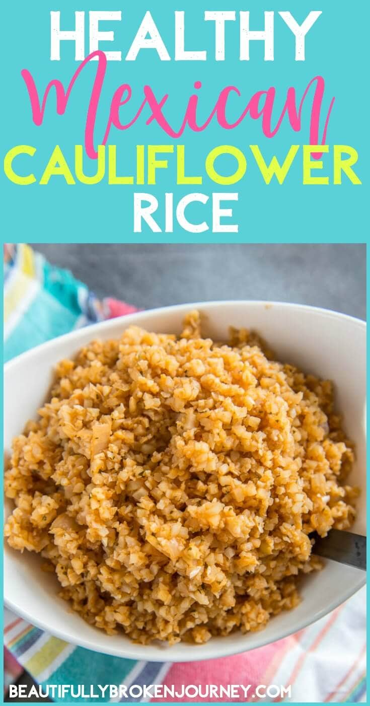 Quick and easy Healthy Mexican Cauliflower Rice recipe is the perfect side dish for tacos and other mexican dishes.  You will love how easy it is to make, too!