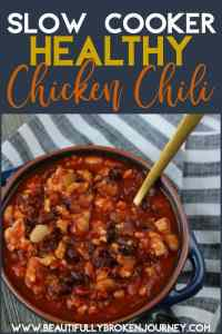 This Slow Cooker Healthy Chicken Chili is an easy recipe that is big on flavor and the perfect bowl of comfort food when it's cold outside!