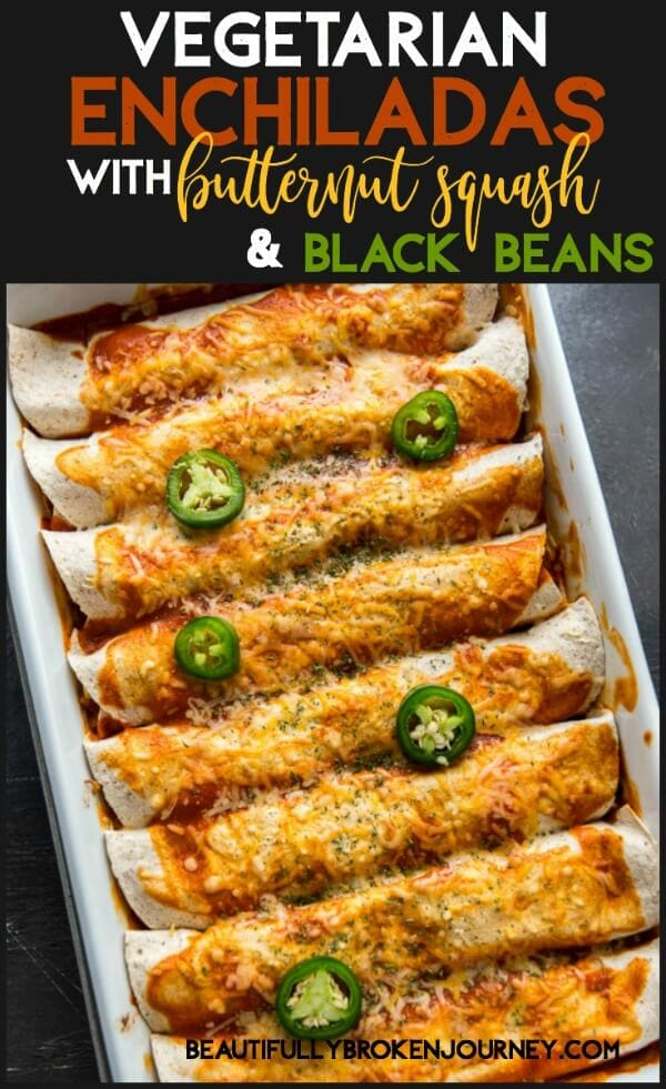 Vegetarian Enchiladas filled with butternut squash, black beans, tomatoes and spices are quick and easy to prepare and perfect for a healthy dinner on a busy weeknight!