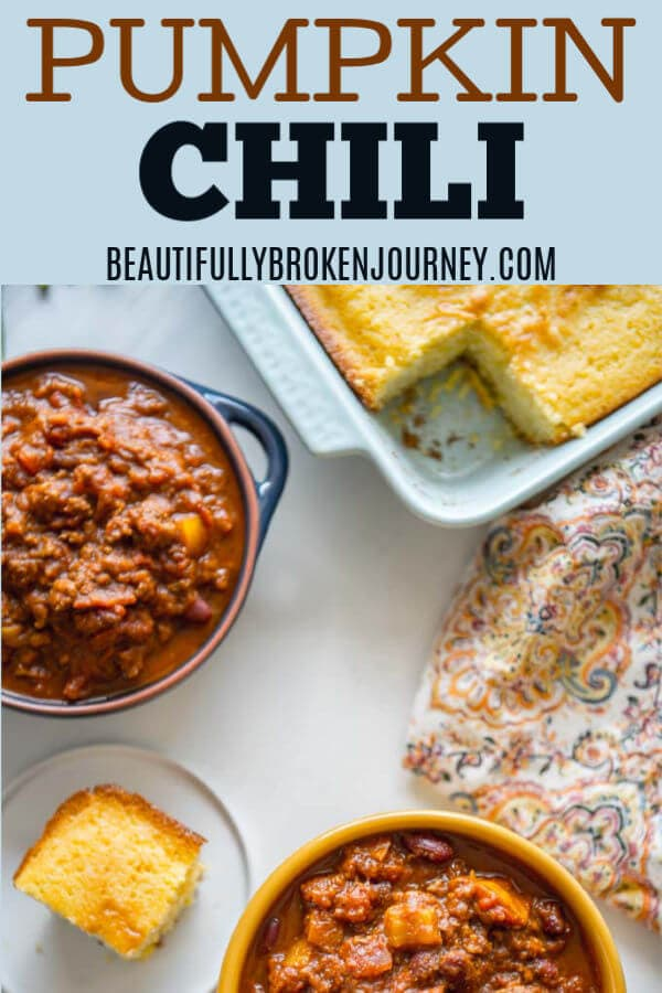 When fall comes around I crave all things pumpkin and I could eat chili every day so why not combine the two??  This Slow Cooker Pumpkin Chili is easy, healthyand will satisfy your craving for a hearty bowl of chili with a hint of pumpkin.  #slowcooker #beautifullybrokenjourney #pumpkin #pumpkinrecipes #pumpkinchili #beefchili #chili #fallrecipes