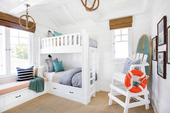 California Beach House Coastal Interiors Bunk Bed Room