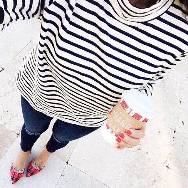 striped cowl neck J.Crew top