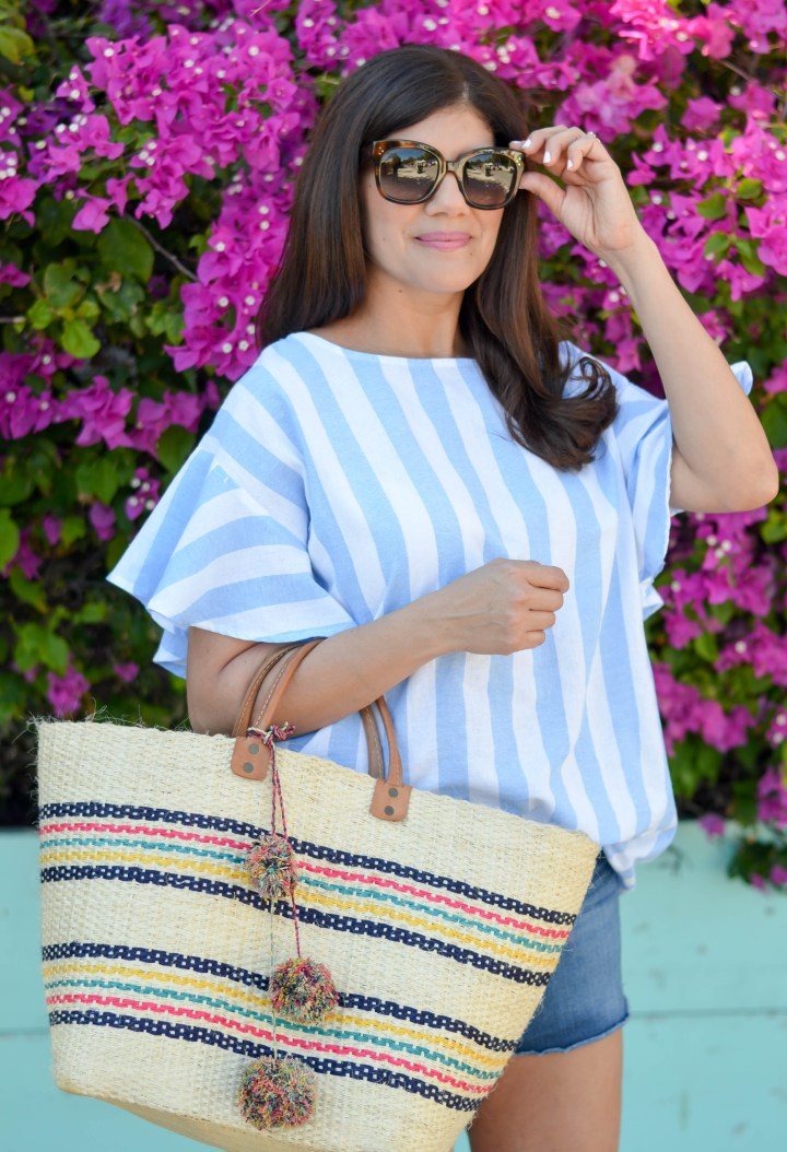 awning stripe ruffle sleeve top