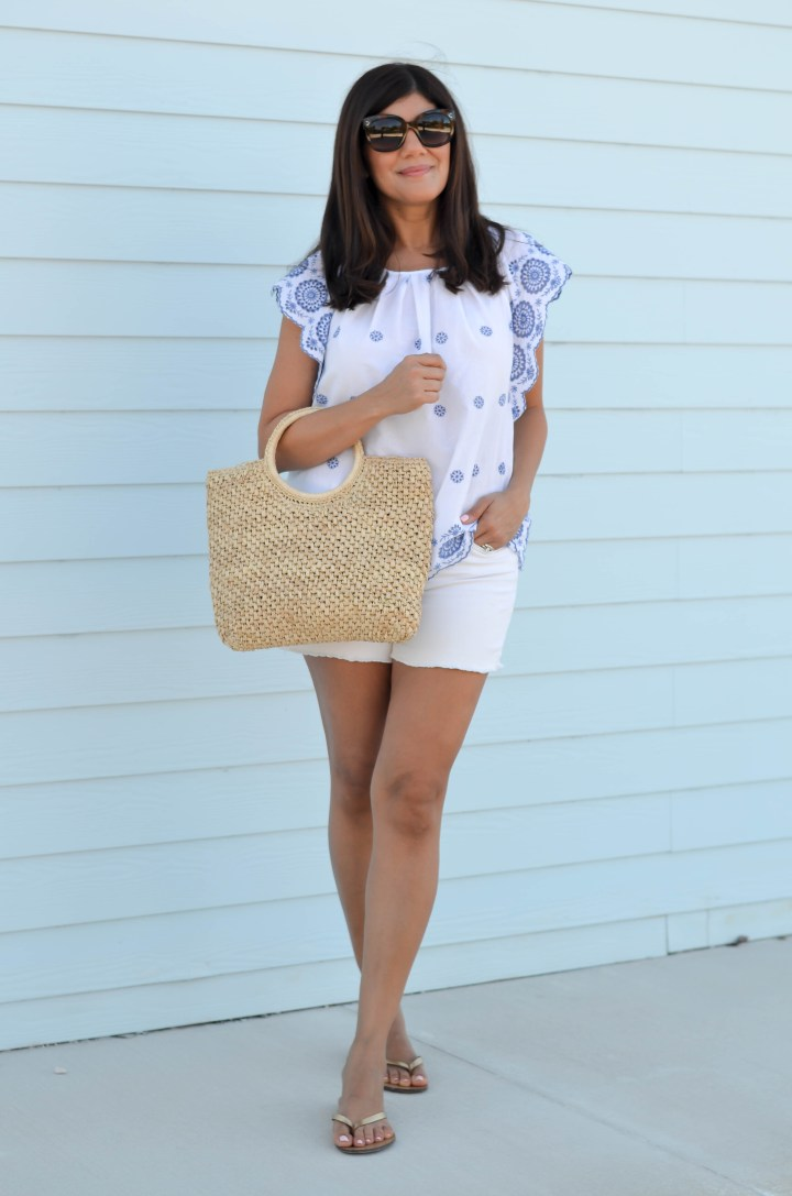 embroidered blue and white Gap top