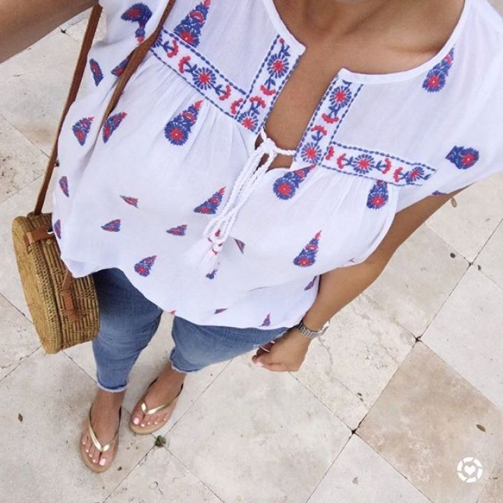 embroidered floral top LOFT