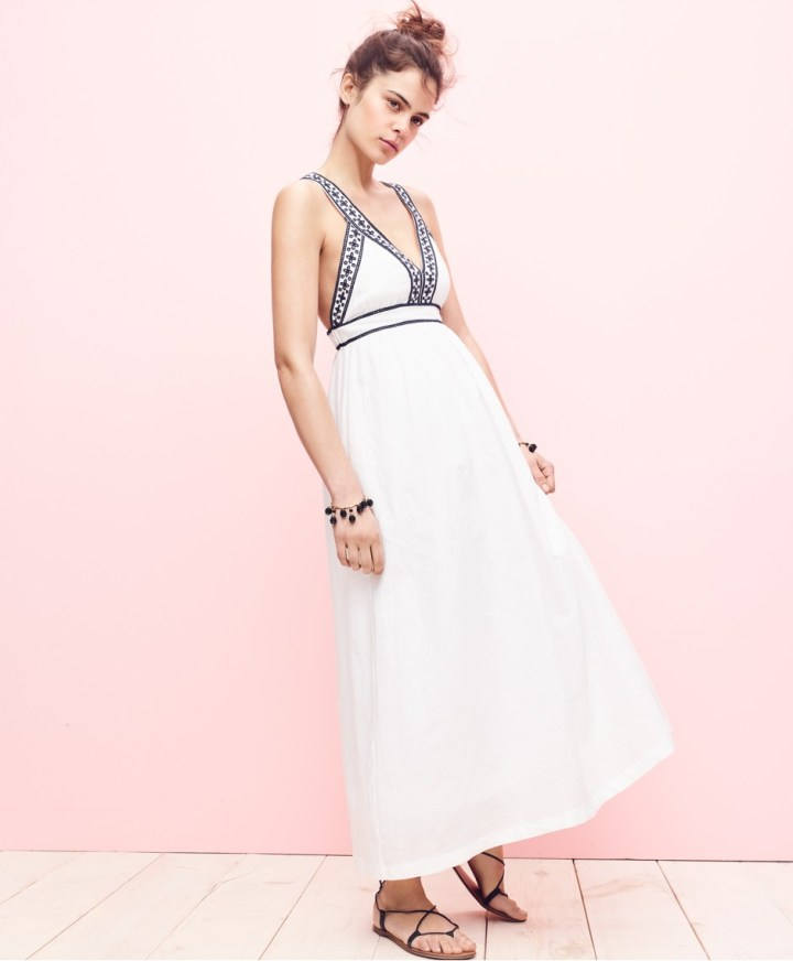 Embroidered cross-back maxi dress J.Crew