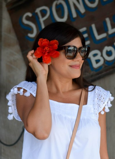 WHITE TASSEL TRIM EYELET TOP IN KEY WEST