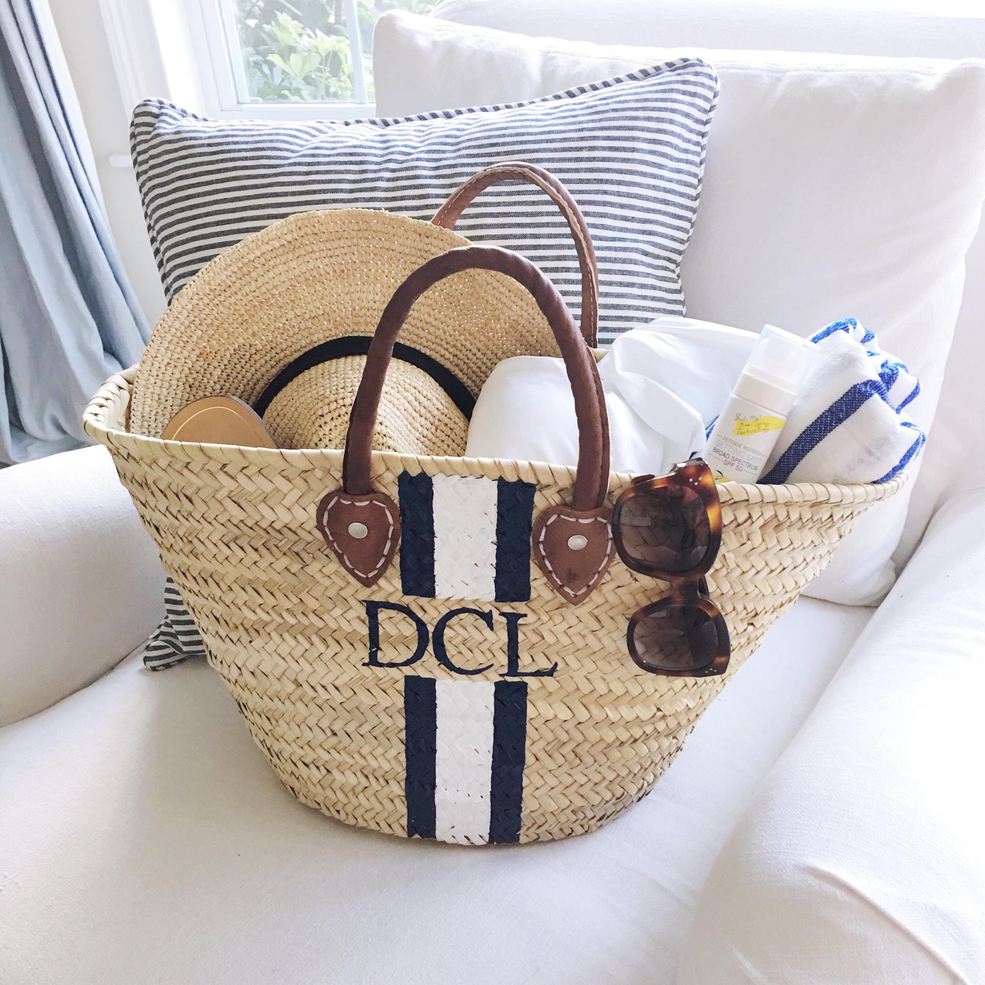 Mark & Graham handpainted straw beach bag