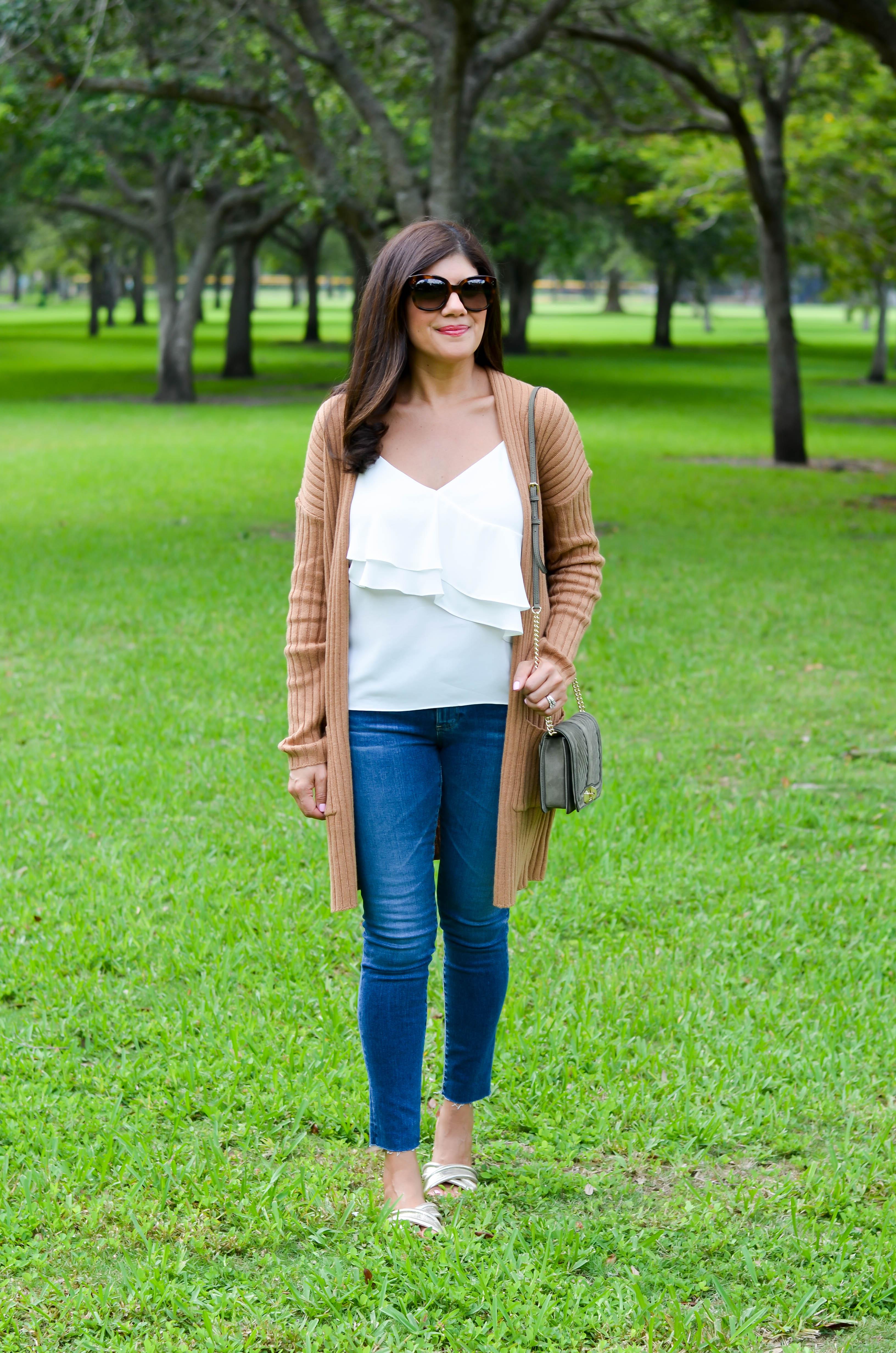 how to wear a rib knit cardigan
