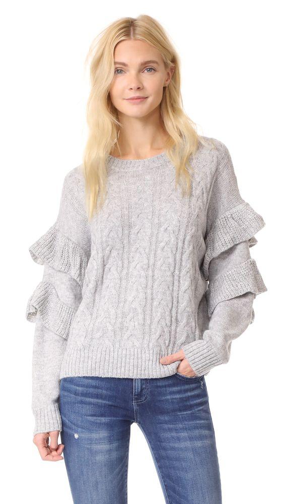 Wayf ruffle sleeve sweater